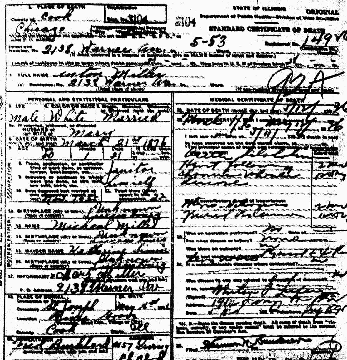 Luxembourgers to chicago document gallery death certificate of anton miller dated may 1936 cook county vital records 1betcityfo Image collections